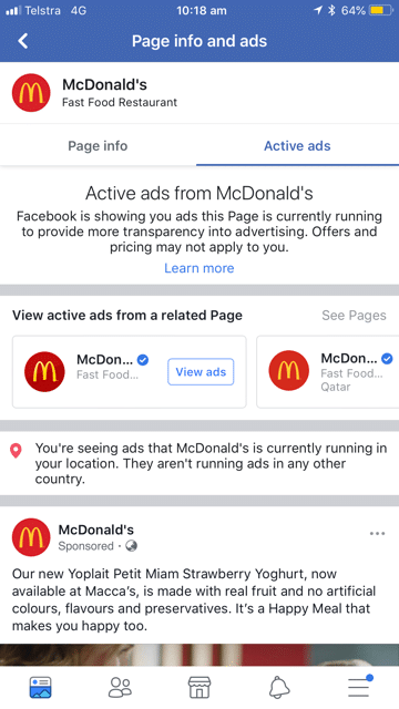 Facebook Ads - Mobile View - Example Advert - McDonalds Australia - Sticks Digital Marketing